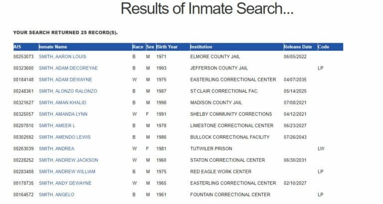 Alabama DOC Inmate Search Step 4