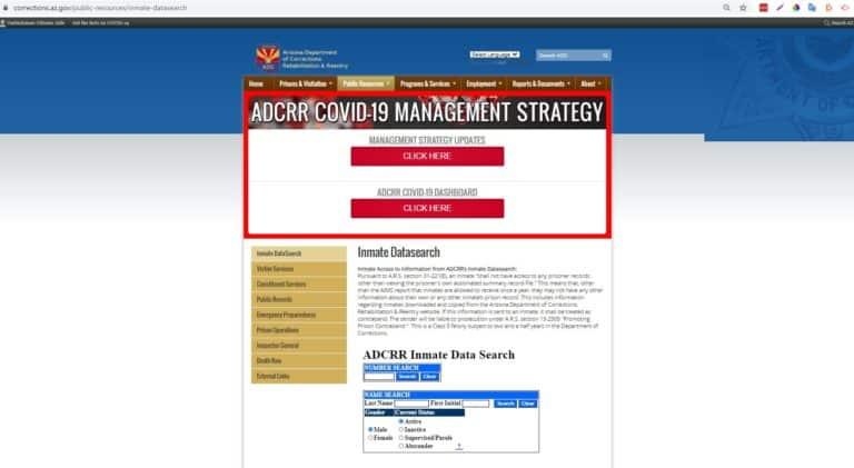 Arizona DOC Inmate Search Step 1
