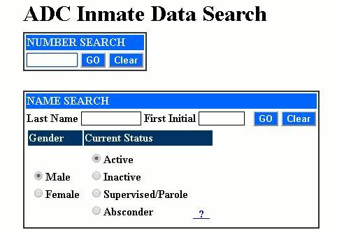 Arizona DOC Inmate Search Step 2