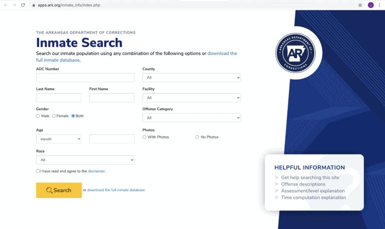 Arkansas DOC Inmate Search Step 1