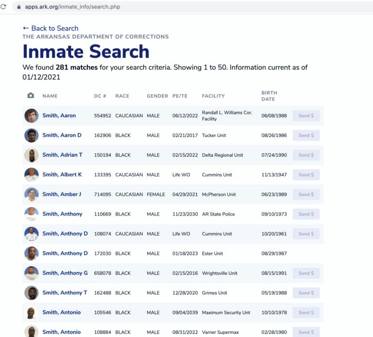 Arkansas DOC Inmate Search Step 4