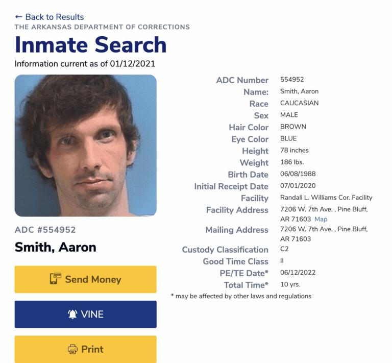 Arkansas DOC Inmate Search Step 5.1