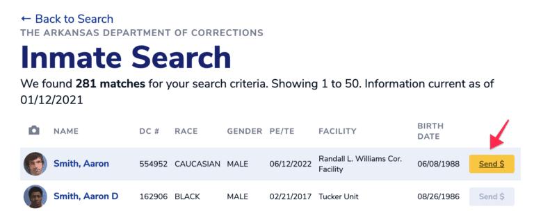 Arkansas DOC Inmate Search Step 5.2