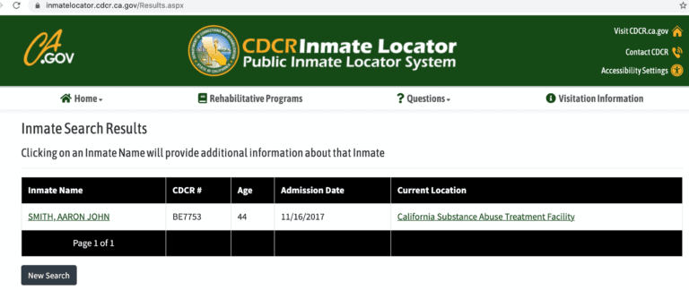 California DOC Inmate Search Step 4