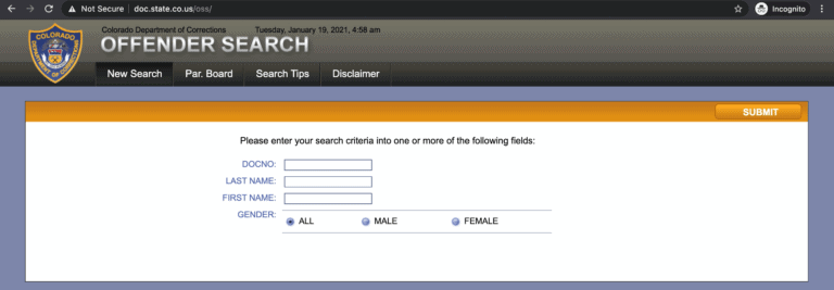Colorado DOC Inmate Search Step 2
