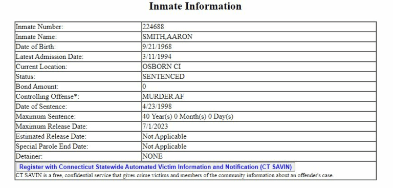 Connecticut DOC Inmate Search Step 4