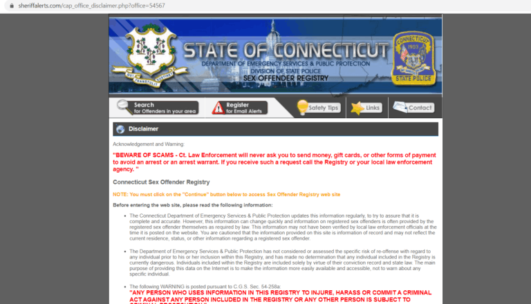 Connecticut Sex Offender Search 1