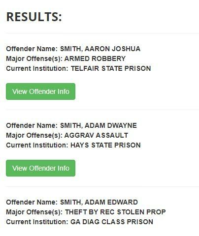 Georgia DOC Inmate Search Step 3