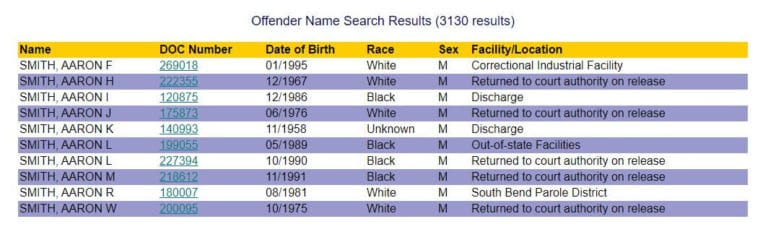 Indiana DOC Inmate Search 3