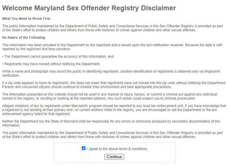 Maryland Sex Offender Search 1