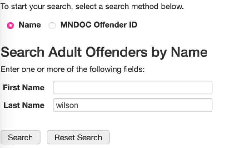 Minnesota DOC Inmate Search 2-1
