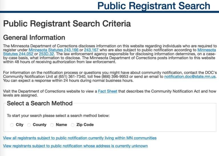 Minnesota Registrants Search 1