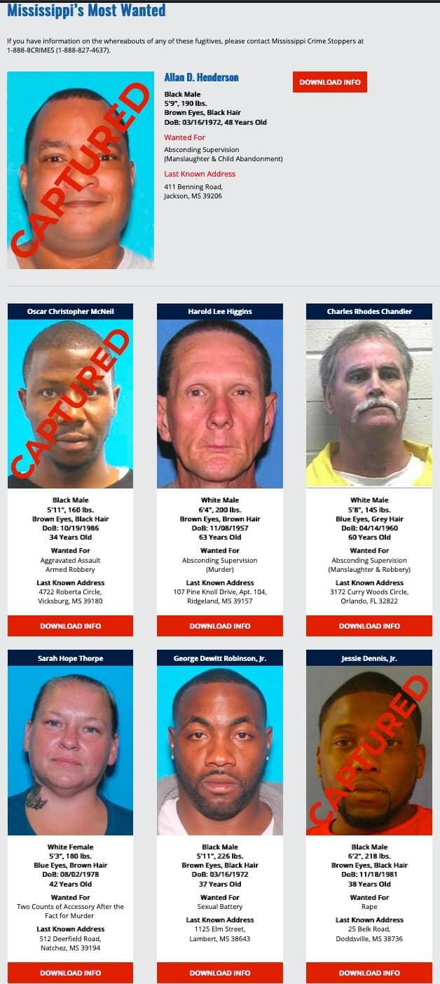 Mississippi's Most Wanted
