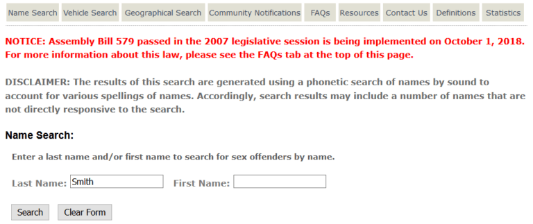 Nevada Sex Offender Search 3