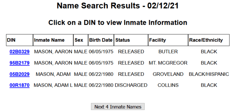 New York DOC Inmate Search 3