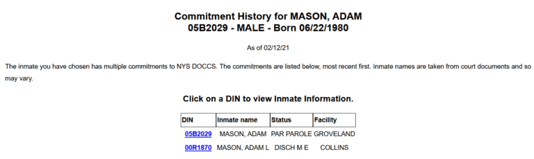 New York DOC Inmate Search 4