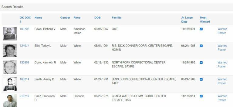 Oklahoma most wanted fugitives