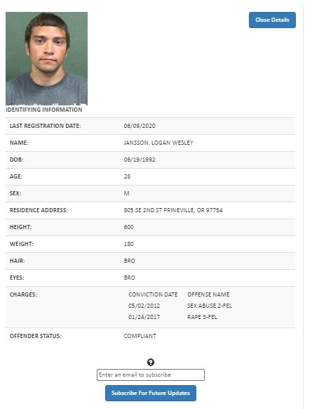 Oregon Sex Offender Search 3