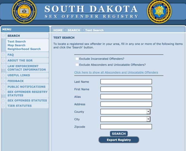 South Dakota Sex Offender Search 1
