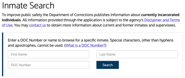 Washington DOC Inmate Search 1