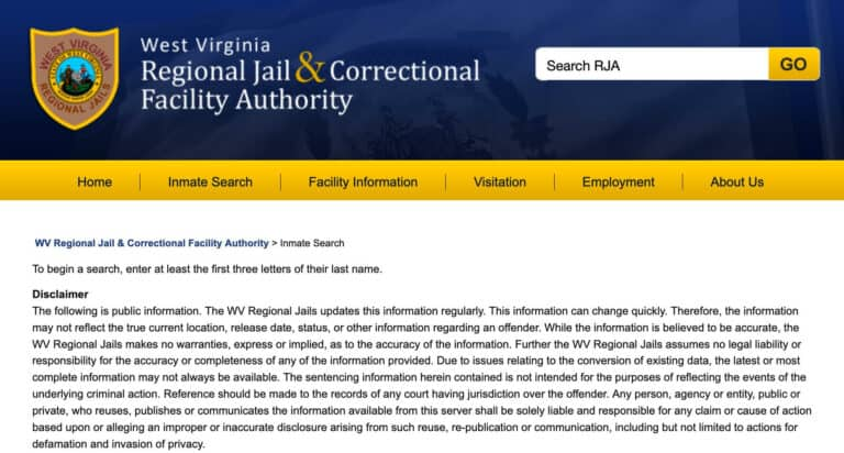 West Virginia DOC Inmate Search 1