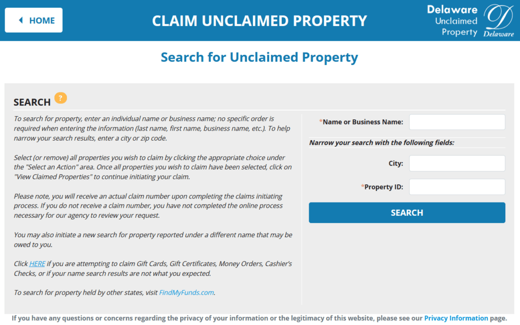Claim Unclaimed Property in Delaware Step 1