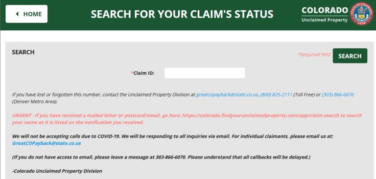 Colorado Unclaimed Property Claim Status 1