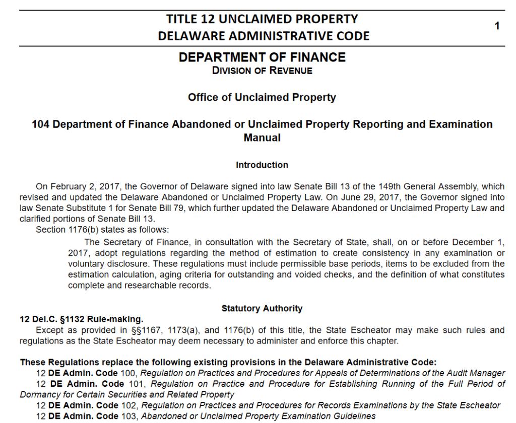 Delaware Unclaimed Property Laws 2