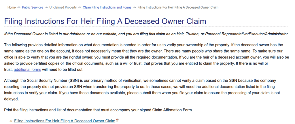 Filing a Claim for a Deceased Owner