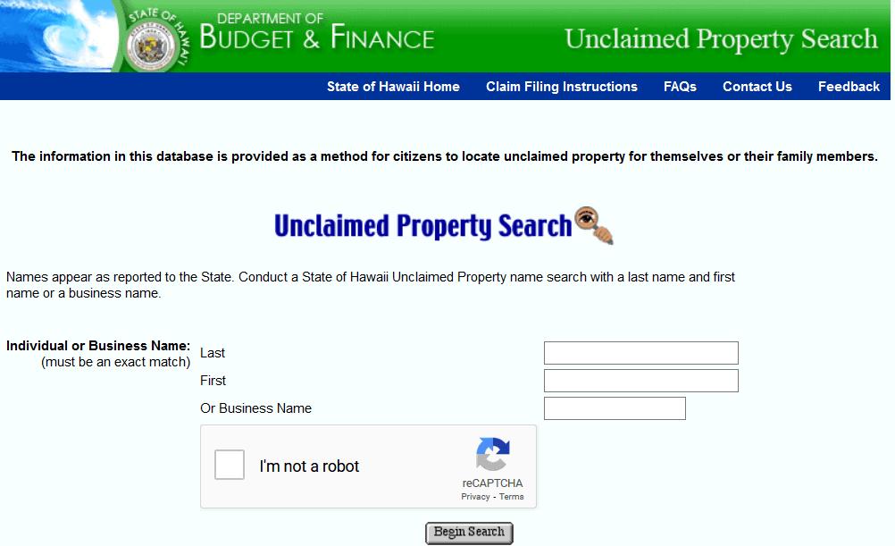 Hawaii Unclaimed Property Database