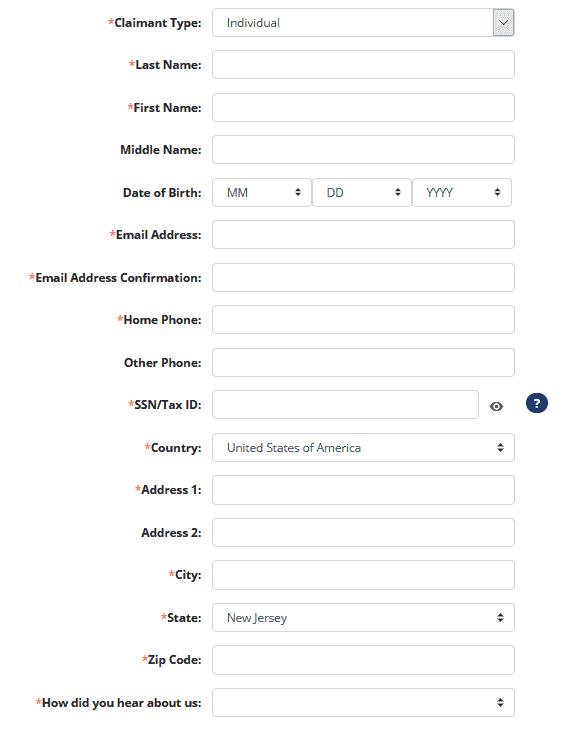 How to File a NJ Claim Step 1