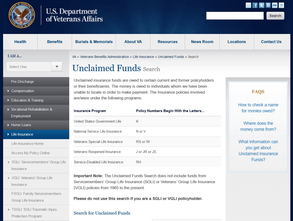 Unclaimed Funds U.S. Department of Veteran Affairs