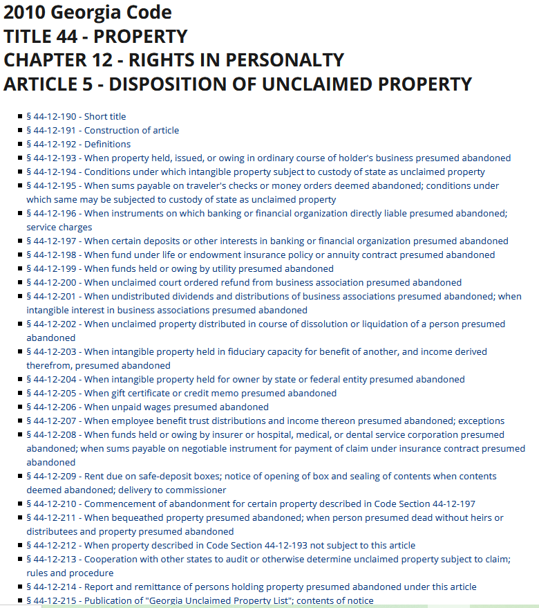 Unclaimed Property Laws in Georgia