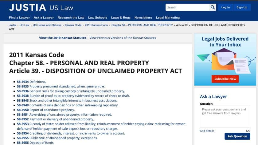 Unclaimed Property Laws in Kansas