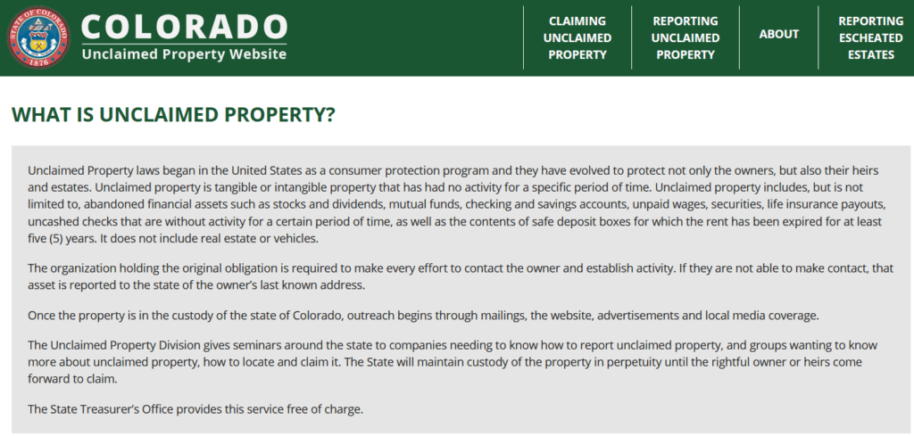 What is Unclaimed Property in Colorado