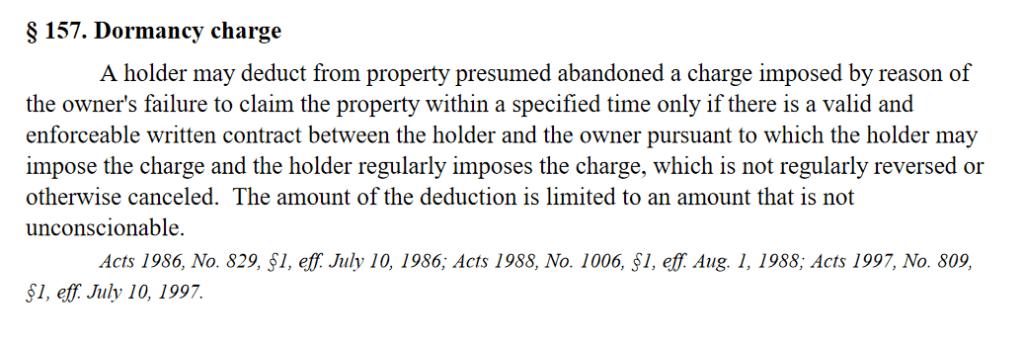 What is a Dormancy Fee