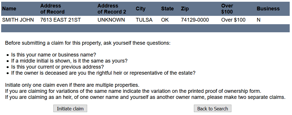 Claiming Property in Oklahoma Step 1