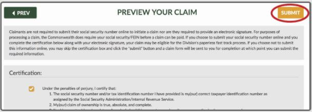 Filing Your Claim Step 2