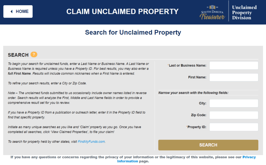How to Claim Unclaimed Property in South Dakota Step 2