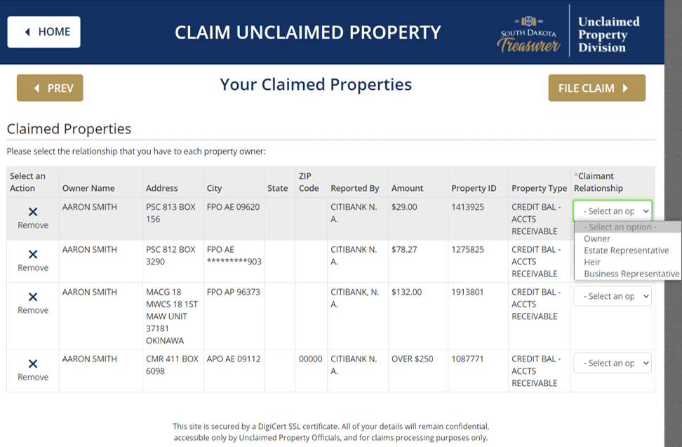 How to Claim Unclaimed Property in South Dakota Step 3-3