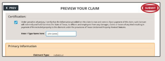 How to Claim Your Texas Property Step 4