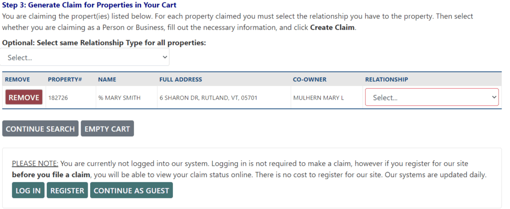 How to Claim Your Vermont Assets Step 2