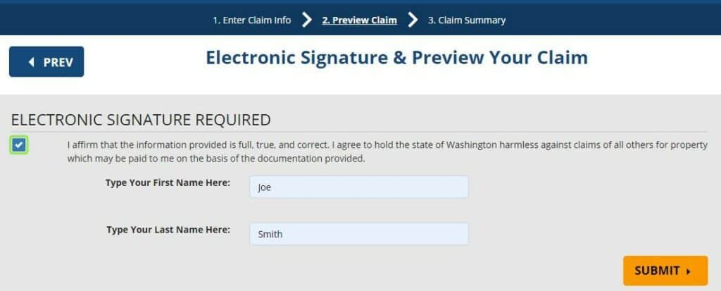 How to Claim and Get Your Washington Property Step 2