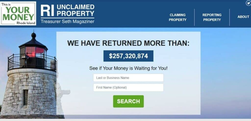 How to Find Unclaimed Money in Rhode Island step 1