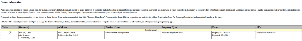 How to Find Unclaimed Property in Pennsylvania Step 6