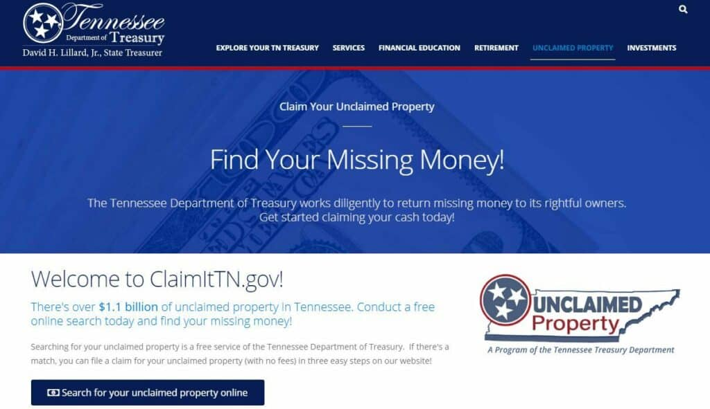 Tennessee Unclaimed Money 1