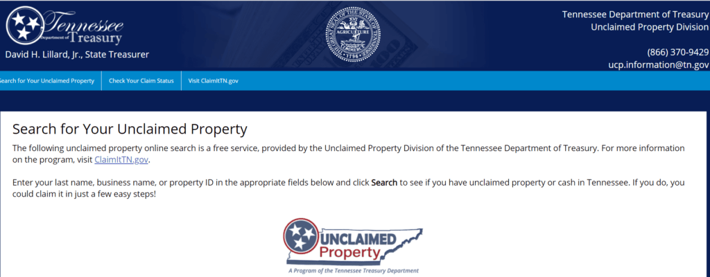 Tennessee Unclaimed Property Database Step 1