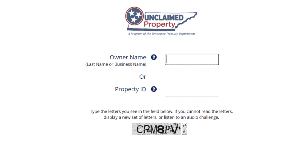 Tennessee Unclaimed Property Database Step 2