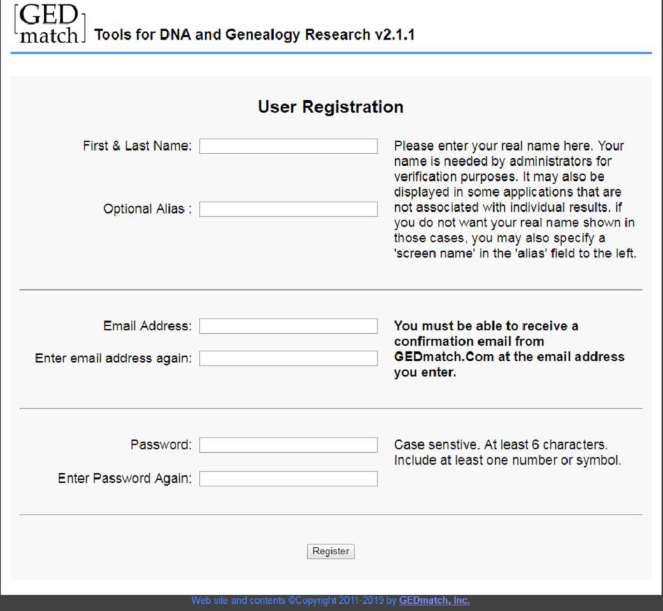 GEDMatch Registration