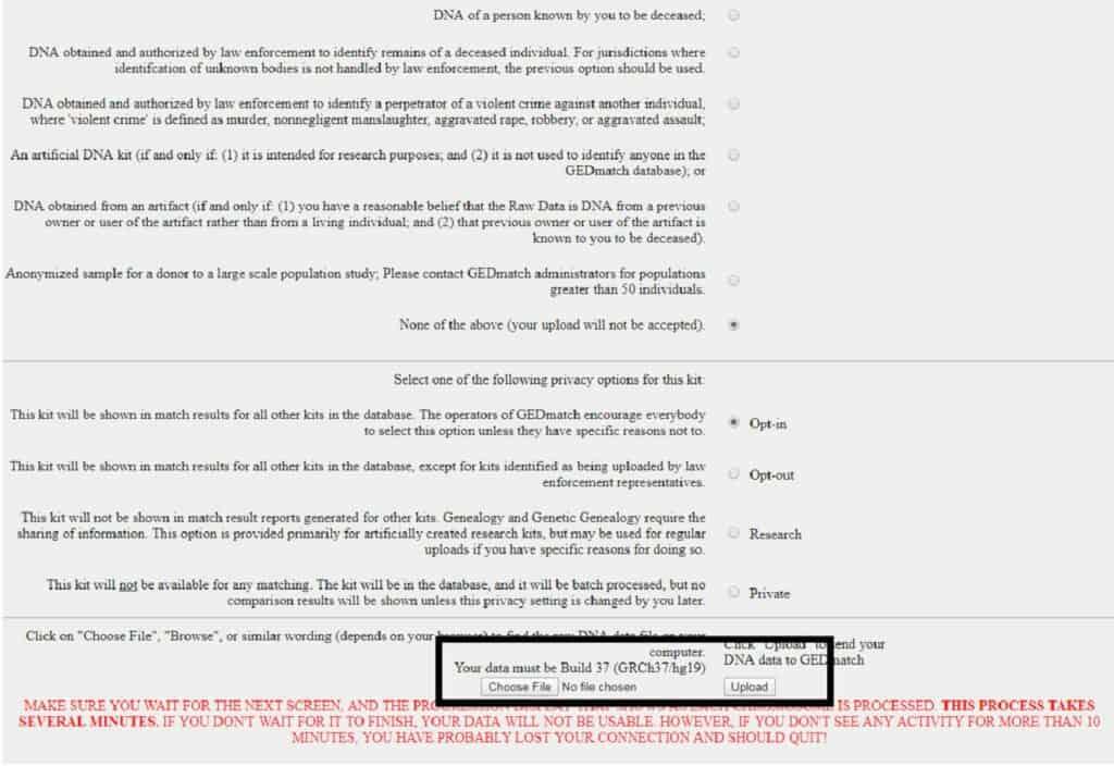 GEDMatch Upload File Form 2 image
